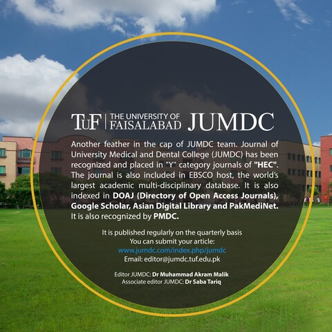 "Journal of University Medical and Dental College (JUMDC) has been recognized and placed in ""Y"" category journals of ""HEC""."