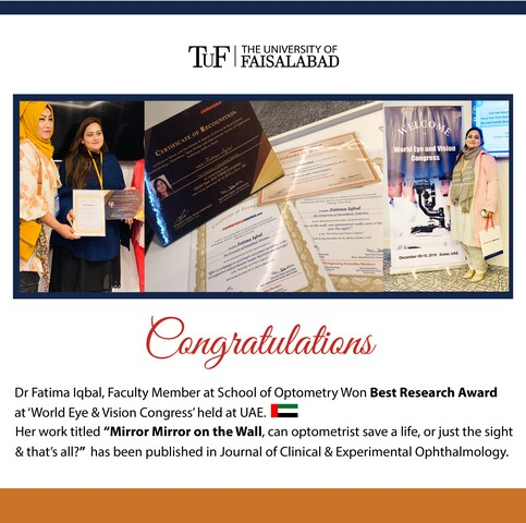 Dr Fatima from Optometry won Best Research Award